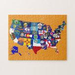 El estado del mapa de los E.E.U.U. señala el mosai Rompecabeza