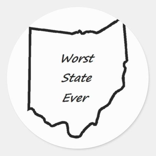 El estado peor de Ohio nunca Pegatina Redonda