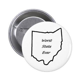 El estado peor de Ohio nunca Pin Redondo De 2 Pulgadas