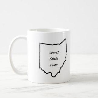 El estado peor de Ohio nunca Taza Básica Blanca