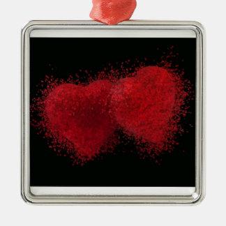 El estallar con amor adorno navideño cuadrado de metal