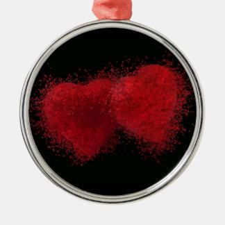 El estallar con amor adorno navideño redondo de metal