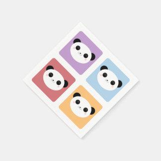 El estallido multicolor de la panda de Kawaii Servilletas De Papel
