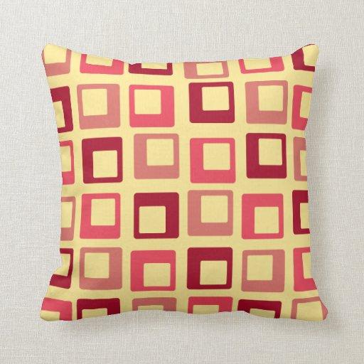 El estallido retro ajusta rojo amarillo almohadas