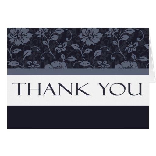 """El estampado de flores azul """"le agradece"""" las tarj felicitacion"""