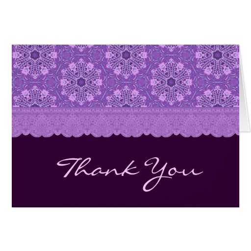 El estampado de flores púrpura le agradece TH007 Tarjeta Pequeña