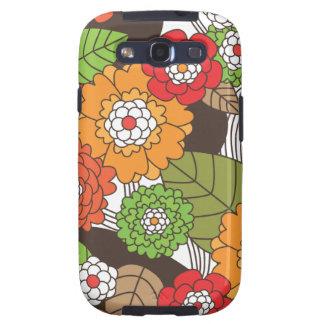 El estampado de flores retro Samsung de la diversi Samsung Galaxy S3 Protectores