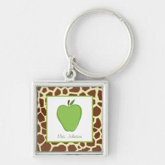 El estampado de girafa Apple verde personalizó al  Llavero Cuadrado Plateado