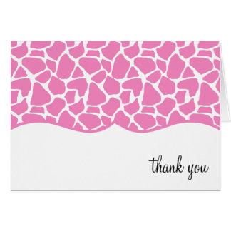 El estampado de girafa rosado le agradece las nota tarjeta pequeña