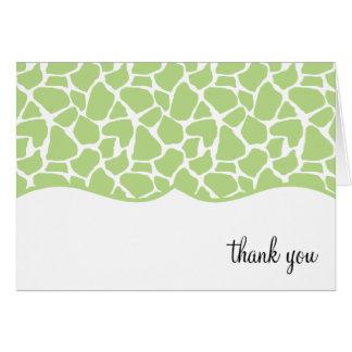 El estampado de girafa verde le agradece las notas tarjeta pequeña