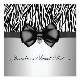 """El estampado de zebra arqueado moda invita [la invitación 5.25"""" x 5.25"""""""