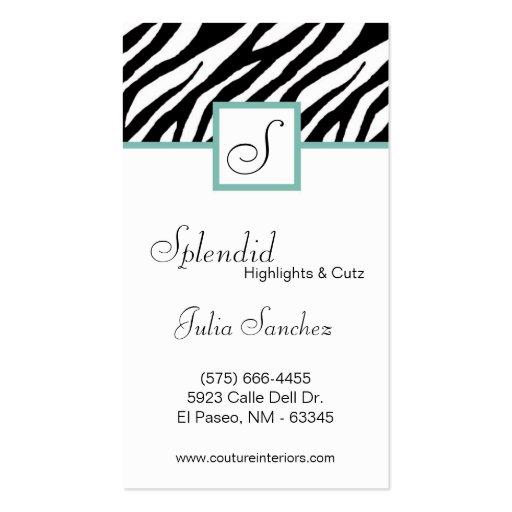El estampado de zebra azul personaliza la tarjeta plantilla de tarjeta personal
