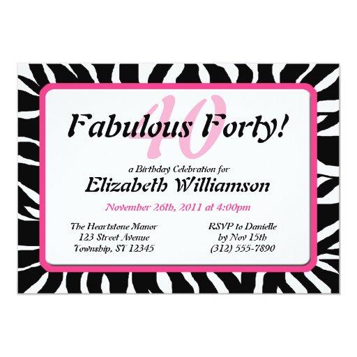 """El estampado de zebra fabuloso 40 y el cumpleaños invitación 5"""" x 7"""""""