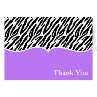 El estampado de zebra le agradece las tarjetas