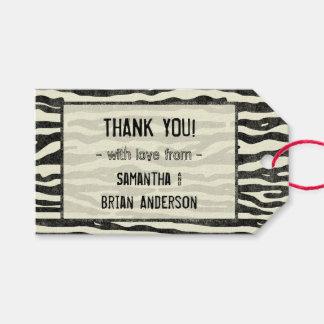 El estampado de zebra le agradece raya elegante etiquetas para regalos