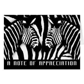 El estampado de zebra moderno le agradece en tarjeta de felicitación
