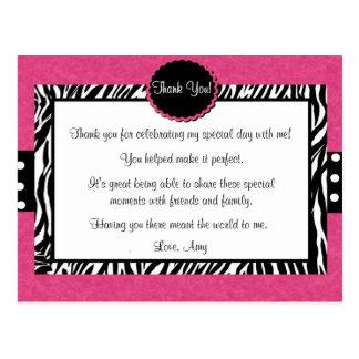 El estampado de zebra rosado le agradece postal