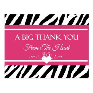 El estampado de zebra rosado y negro le agradece d tarjetas postales