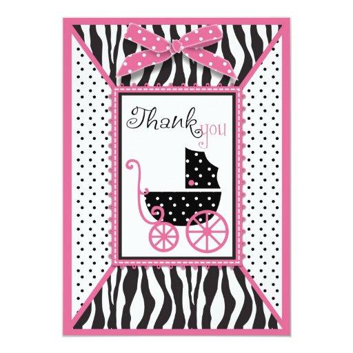 El estampado de zebra y el carro de bebé le invitación 12,7 x 17,8 cm