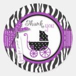 El estampado de zebra y el carro de bebé le etiquetas redondas