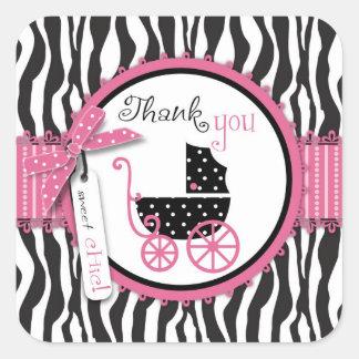 El estampado de zebra y el carro de bebé le pegatina cuadrada