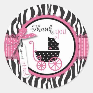 El estampado de zebra y el carro de bebé le pegatina redonda