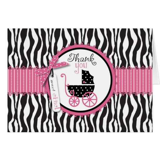 El estampado de zebra y el carro de bebé le tarjeta de felicitación