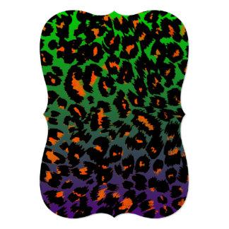 """El estampado leopardo de Halloween se descolora Invitación 5"""" X 7"""""""