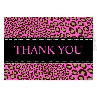 El estampado leopardo/el rosa/agradece le/el tarjeta pequeña