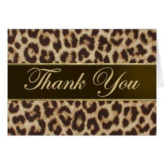 El estampado leopardo le agradece cardar tarjeta pequeña