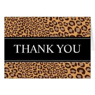 El estampado leopardo/naturales/le agradece las tarjeta pequeña