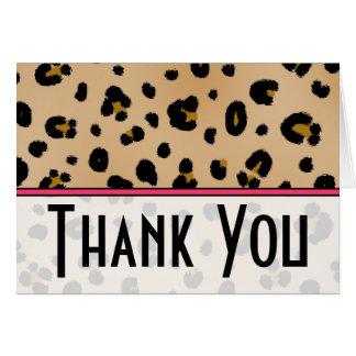 El estampado leopardo y el rosa le agradecen tarjeta de felicitación