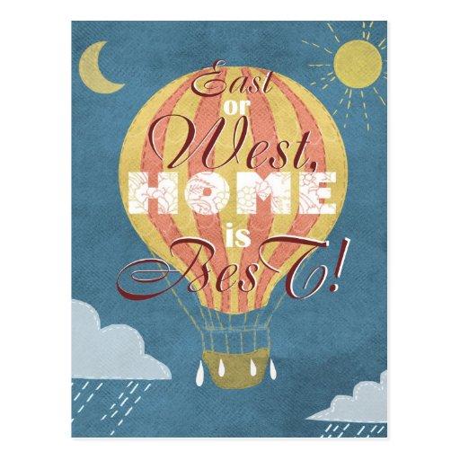 El este o del oeste, casero es el mejor proverbio tarjeta postal