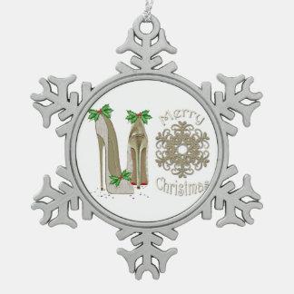 El estilete de las Felices Navidad calza el Adorno De Peltre En Forma De Copo De Nieve