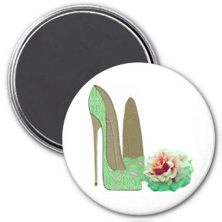 El estilete del cordón de la verde lima calza el imán redondo 7 cm