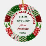 El estilista más impresionante 2016 o cualquier adorno navideño redondo de cerámica