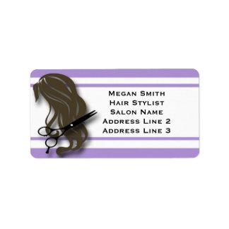 El estilista trigueno Scissors etiquetas de Etiqueta De Dirección