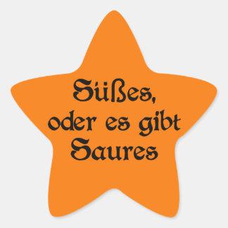El estilo alemán de Halloween celebra Pegatina En Forma De Estrella