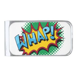 ¡El estilo cómico del arte pop Whap! Clip Para Billetes Plateado