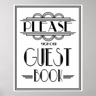"""El estilo de Gatsby del art déco """"firma por favor Póster"""