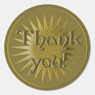 El estilo de la medalla de oro le agradece los pegatina redonda
