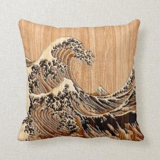 El estilo de madera de bambú de la gran onda de cojines