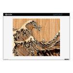 El estilo de madera de bambú de la gran onda de calcomanía para 35,6cm portátil