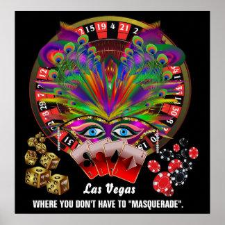 El estilo del casino de Vegas ve por favor notas Póster