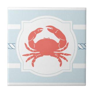 El estilo náutico del cangrejo coralino raya la azulejo cuadrado pequeño