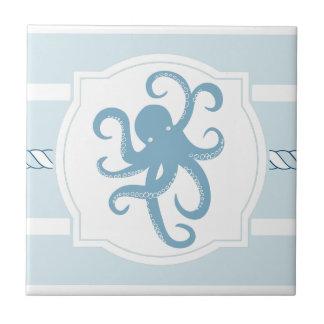 El estilo náutico del pulpo azul raya la baldosa azulejo cuadrado pequeño