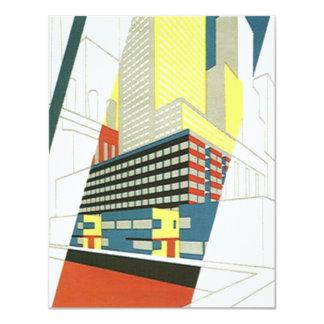 """El estilo retro de Deco movió paisaje urbano de Invitación 4.25"""" X 5.5"""""""