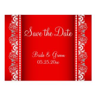 El estilo rojo y de plata elegante el | del cordón tarjetas postales