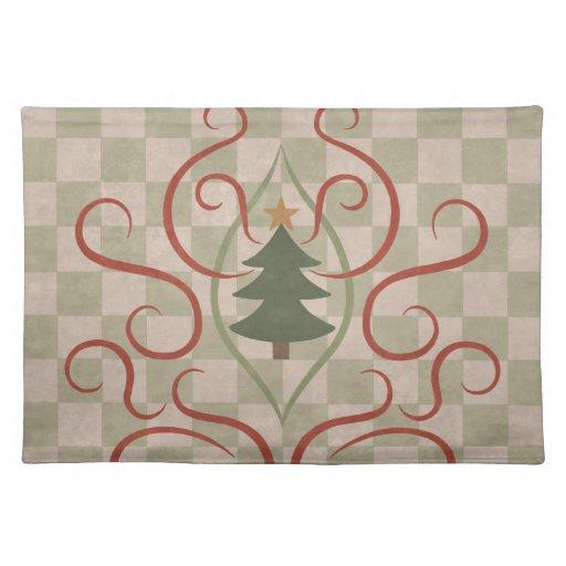 El estilo rural colorea el árbol de navidad y remo manteles individuales