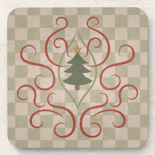 El estilo rural colorea el árbol de navidad y remo posavasos de bebidas